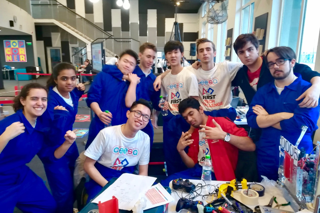 ASW HS Robotics team celebrate at the competition in Bucharest